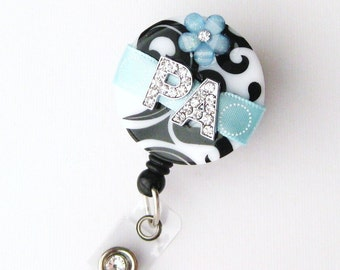 Light Blue PA Blossom Bling - Designer Name Badge Reel - Unique ID Badge - Stylish Badge Clip - Personalized Nurse Jewelry - BadgeBlooms