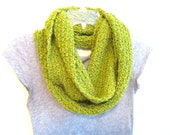 infinity scarf in bright green and chartreuse.