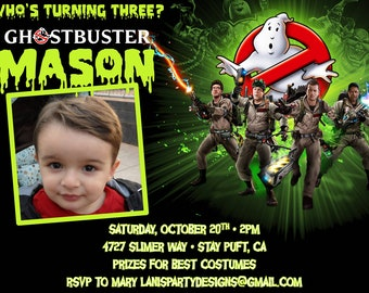 Ghostbusters Invitation - Birthday Halloween Costume Party Photo Picture - Printable Digital DIY