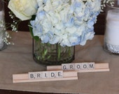 Bride and Groom Scrabble tile sign