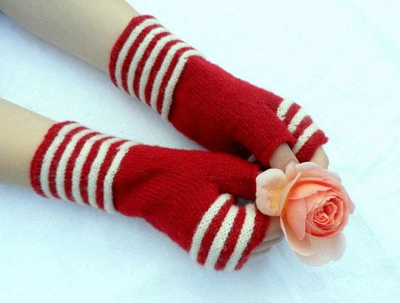 Wool fingerless gloves, fingerless gloves, hand warmers, red gloves, red wool gloves, red white gloves