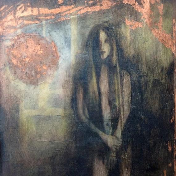 "Mixed Media Encaustic Painting, ""Moonshine"""