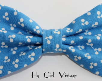 Vintage-1940s-1950's-Rockabilly-Pin-Up-Style-Hair-Bow-Clip- Blue-Cherry-Cherries-Print-Fabric-Mod-For Women, Teens, Girls, Babies