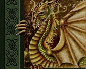 Fire Drake. Dragon, green, gold, celtic, celtic knot, limited edition 11x14  unframed giclee print