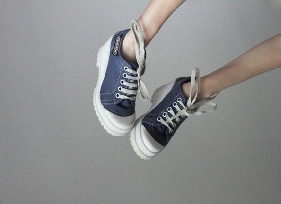 Blue denim wedge platform sneakers