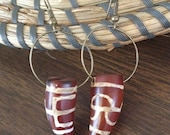 Tribal inspired African style painted Carnelian stone points on bronze Hoop earrings