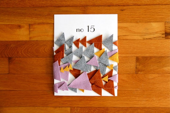 no. 15 geometric triangle wool felt bunting in mustard, smoke, lilac, and auburn (one of a kind)