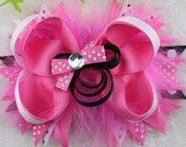 Minnie Mouse Stacked feather Hair Bow Over the Top Pink