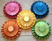 Set of 10 Rainbow Paper Rosettes/ Fans