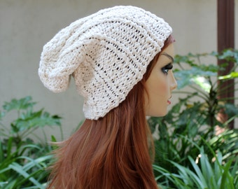 Hand Knit, Cream/Off White, 100 Percent Organic Cotton, Rib Knit, Over Sized, Slouchy Beanie Hat for Men or Women Spring Summer Fall Winter