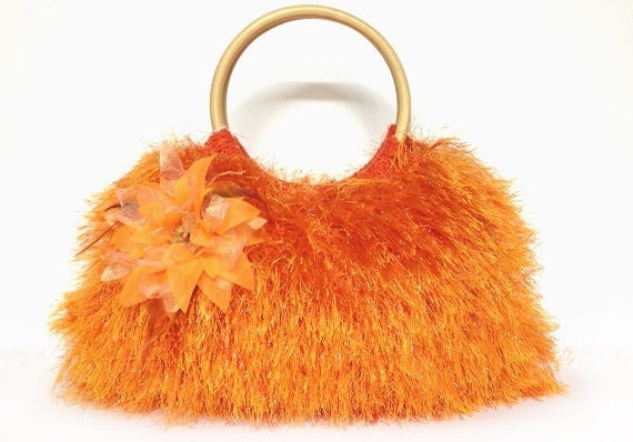 SALE SALE SALE Orange knitted purse fur handbag Christmas gift or for you