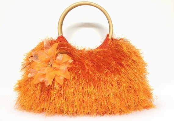 SALE SALE SALE Orange knitted purse fur handbag Christmas gift or for you