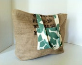 """Burlap Tote Green Coffee (Large) """"Importer Id"""" Product of Peru in Teal Ikat with Brown Ticking"""