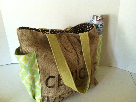 """Repurposed  Coffee Burlap Tote Bag (Medium) """"Cepic Cafe"""" Shades of Geometric Green with Brown dots"""