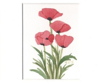 "Red Poppies Original Watercolor by Wanda""s Watercolors 5"" by 7"" Matted 1"