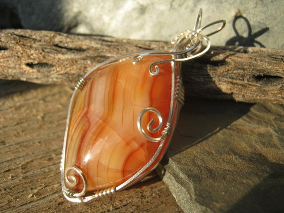 Carnelian Agate Pendant, Fiery Orange Crackled Gemstone, Solar Plexus Chakra Pendant, Wire Wrapped Semi Precious Gemstone, READY To SHIP