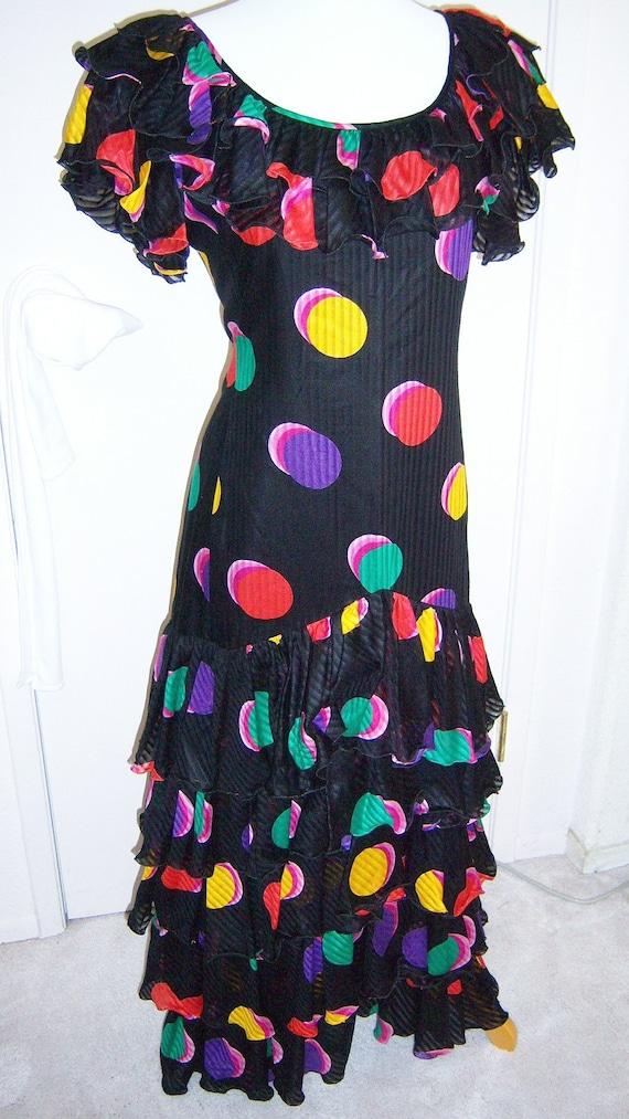 "Ungaro ""tango"" full length dress in circle print on black"