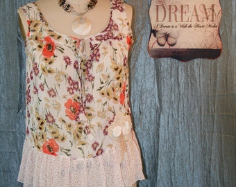 Upcycled Shabby Chic Mori Girl Blouse Bojo Gypsy Bohemian Tunic Country Chic Ranch Blouse Prairie Girl