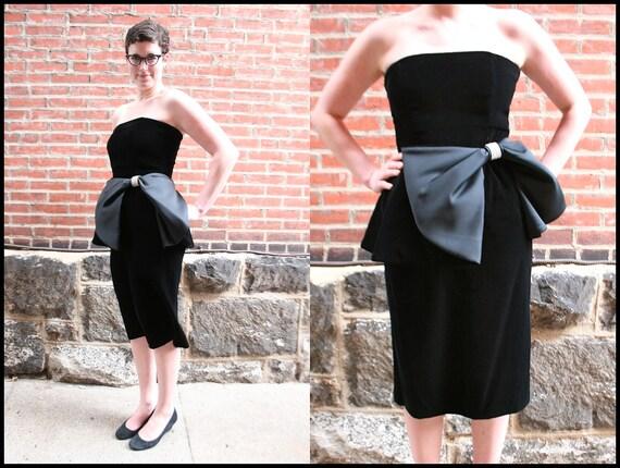 Strapless Black Velvet and Satin Giant Bow Cocktail Dress