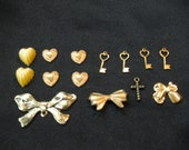 vintage charm and heart cabochon lot