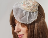 Bridal Hat, Ivory, Wedding Headpiece,Veil, Silk, Bride, Brides Maid, Attendant Gift, Ship Ready
