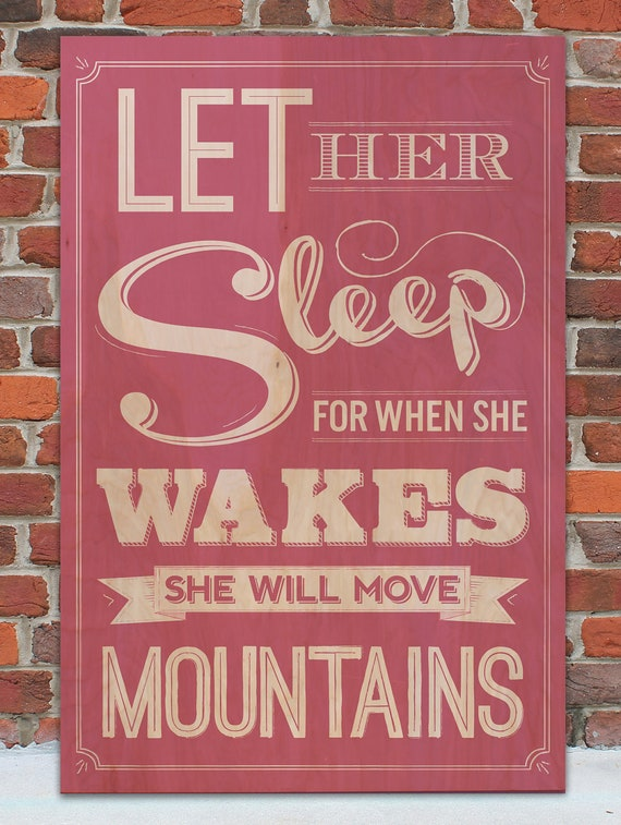 "Let Her Sleep Vintage Wooden Sign - 6"" x 9"""