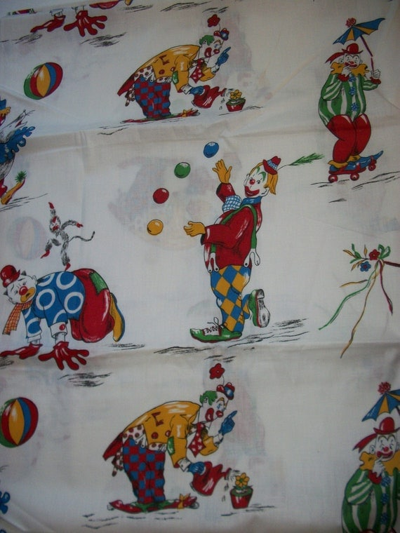Vintage kids clown print fabric by threebearscottage on etsy for Kids print fabric