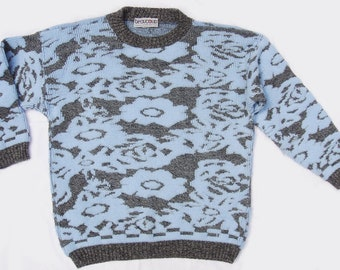 Vintage 80s Slouchy Floral & Marl Pattern Hipster Sweater