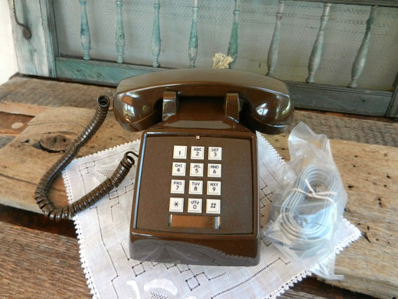 Vintage New Old Stock Chocolate Brown Touch Tone Desk Phone