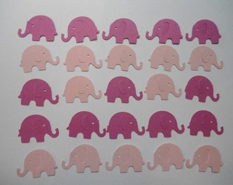 100 Hot Pink and Light Pink Elephant Die Cuts- Double Sided- Table Confetti, Baby Shower Decoration, Scrapbook Embellishments