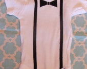 Baby Boy 0 to 3 month Onesie with Black Bow Tie and Suspender Applique