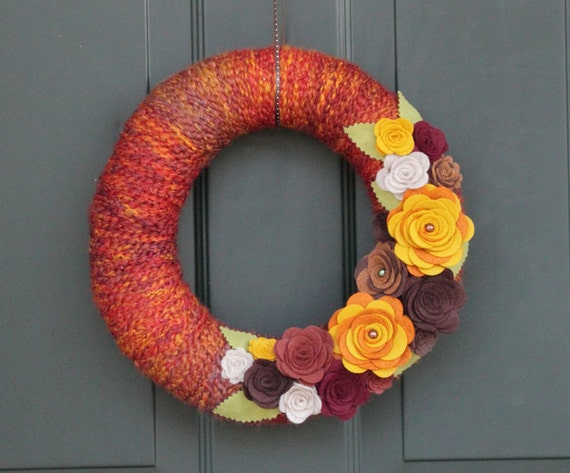 Autumn Wreath 12 Yarn Wreath With Felt Flowers Fall By