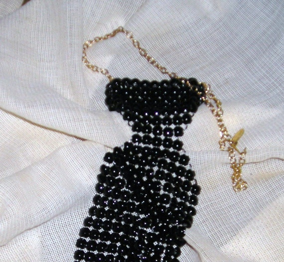 Signed Whiting And Davis Waterfall Mesh Necklace...Black Mesh Necktie...Vintage Jewelry...1970's....Fashion Forward