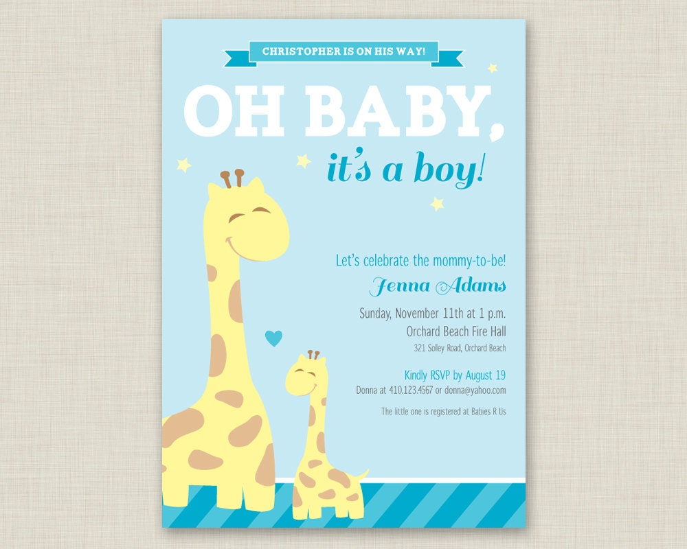 Giraffe Baby Shower Invitation Printable Baby Shower