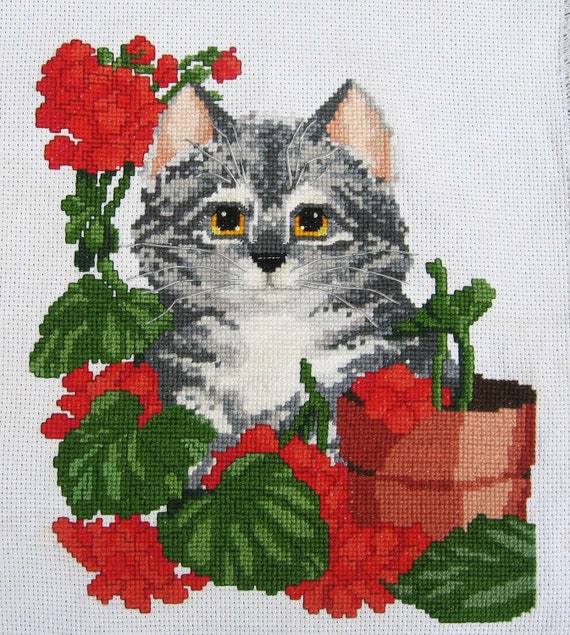 Finished Cross-stitch, Cat with Red Geraniums, Tabby-Cat X-Stitch, Completed Cross-Stitch, Cat and Flowers Crossstitch, Christmas Gift