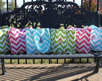 SMALL CHEVRON stripe zigzag Handbag/ Diaper Bag/ Purse/ Tote/ Beach Bag- CHOOSE your own colors