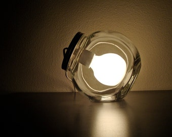 Big Sale!!! Modern Glass Jar Lamp with Frosted Light Bulb // Modern Jar Light Fixture, Modern Table Light, Glass Table Lamp, Desk Lamp