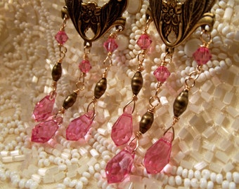 Earrings Chandelier Handmade Genuine Swarovski Cut Crystals Rose Color GP Metal Hand Micro Wire Wrap Art Nouveau Elegance