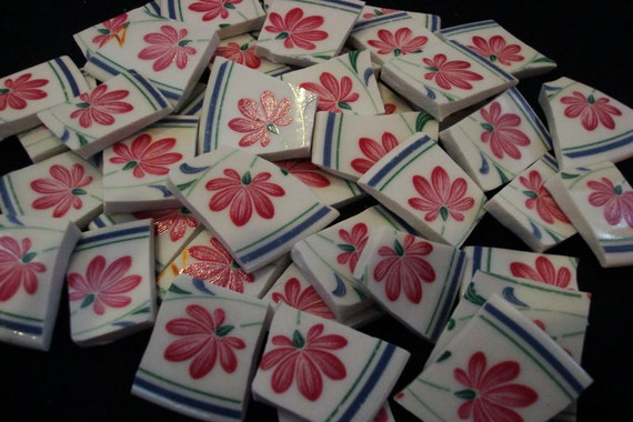 Shabby Cottage Chic Pink Blossoms Mosiac Hand Cut Mosaic China Plate Tiles