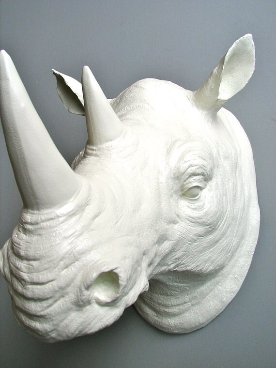 Faux Taxidermy Rhino Head Wall Mount Rufus The Rhino