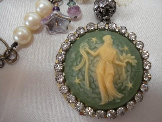 Cameo Goddess Locket OOAK Necklace