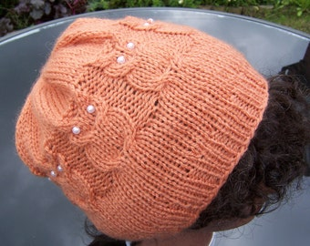 Handknitted Owl Hat, Cable Benie Hat, Women Hat in Orange, Orange Hat, Handmade Hat