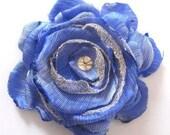Blue & Gold fabric flower brooch