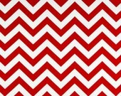 Red and White Chevron Zig Zag Cotton Fabric 2 yards...More Yardage Available