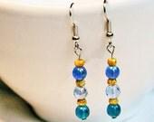 Blue and Brown Dangle Beaded Earrings