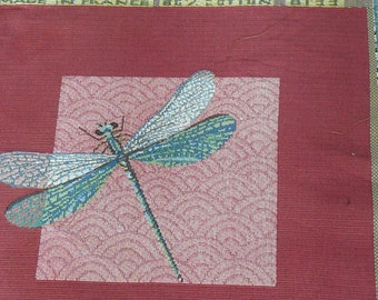 Red Dragonfly Tapestry Panel for Pillows