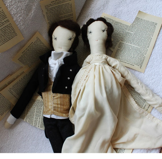 Pride and Prejudice Ragdolls, Mr Darcy, Elizabeth Bennet: Classic Novel, Cloth,Sewing, Handmade from Vintage and Recycled Materials