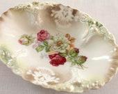 Sweet Pink & White Roses Dish...Trinket Dish...Soap Dish...Germany...Shabby Chic...Vintage...Cottage Chic