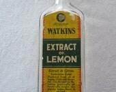 Vintage Watkins Lemon Extract Glass Bottle