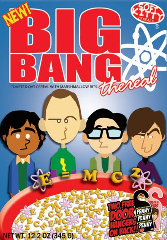 "Big Bang Theory Cereal Box - Original Artwork - 12""x18"""" original print Sheldon Cooper Bazinga"